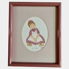 Pat Buckley Moss Girl in Pink Folk Art Amish Limited Edition Print