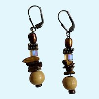 Dangling Earth Tone Beaded Earrings Aurora Borealis with Locking Fishhook Loops for Pierced Ears