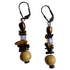 Dangling Earth Tone Beaded Earrings Aurora Borealis with Locking Fishhook Loops for Pierced Ears
