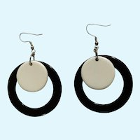 Vintage Groovy Black and White Large Fishhook Earrings for Pierced Ears