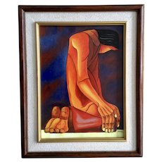 Pilaluisa, Indian Bowing Down Modern Native American Oil Painting on Canvas Signed By Artist