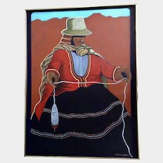 Arlene Lewallen (1942-2002), Pheasant Woman Spinning Alpaca Acrylic Painting on Canvas Signed By Artis