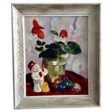 Nini, Christmas Snowman, Ornaments and Cyclamen Flowering Plant Still Life Oil Painting Signed By Artist