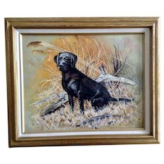 Cindy Carlson, Black Labrador Retriever in a Field Oil Painting on Canvas Signed by Arizona Artist