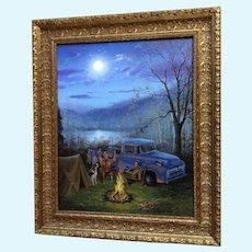 Tom Morgan Crain, Grandpa's Tall Tales Duck Hunters Original Oil Painting
