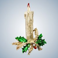 Christmas Gerrys Candle & Holly Gold-tone Pin