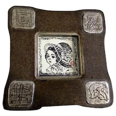 Cute Little Girl in Bonnet Woodblock Print Stamped by Artist Framed Art Picture