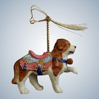 Lenox 1989 Carousel Saint Bernard Dog Christmas Tree Ornament Retired Porcelain Original Tassel