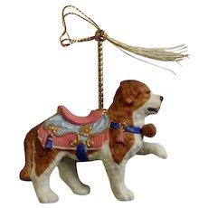 Lenox 1989 Carousel Saint Bernard Dog Christmas Tree Ornament Retired Porcelain Original Tassel