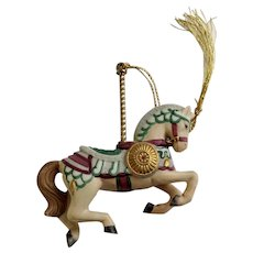 Lenox 1989 Carousel Medieval Horse Christmas Tree Ornament Retired Porcelain Original Tassel
