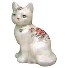 Vintage Fenton Glass White Iridescent Kitty Cat Had Painted Flowers and Glitter Signed by Artist D. Fredrick