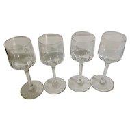 Long Stemmed Aperitif or Digestif Liqueur Crystal Glasses Clear Set of Four