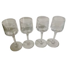 Long Stemmed Aperitif or Digestif Liqueur Crystal Glasses Clear Set of Four