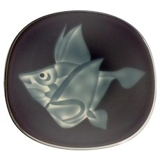 Art Glass Etched Fish Plate Purple and Blue Cased Serving Platter or Wall Decoration
