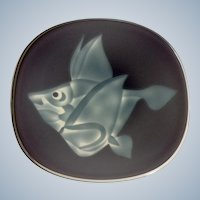 Art Glass Fish Plate Etched Purple and Blue Cased Serving Platter or Wall Decoration