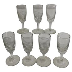 Short Stemmed Aperitif or Digestif Liqueur Glasses Clear Set of Seven