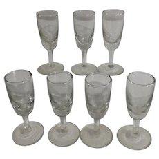 Short Stemmed Aperitif or Digestif Liqueur Glasses Clear Set of Seven
