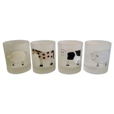 Dartington Design Tumbler Frosted Glasses Country Farm Horse, Cow, Pig and Sheep Old fashioned Whisky Rocks Lowball Short Glass