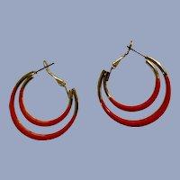 Stunning Pinky Orange Looped Stud Post Earrings for Pierced Ears