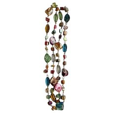 """Multi-Colored Mix of Glass Beads on Necklace 36"""" Long"""