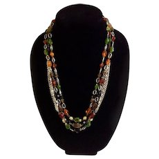 """Orange, Amber, Brown, Green and Black Beads on Gold-Tone 3 Strand Necklace Made West Germany 23-1/2"""" Long"""
