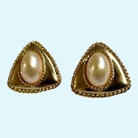 Stud Post Earrings Faux Pearls on Triangle Gold-tone Settings Costume Jewelry