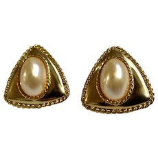 Faux Pearls on Triangle Gold-tone Settings Stud Post Earrings Costume Jewelry