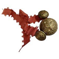 Civil War Extra Quality Brass Buttons Eagle Shield Non-Dug Set 3 With Original Ribbon