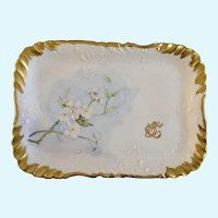 Apple Blossoms Hand Painted Serving Plate Tray 1899 Monogrammed