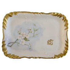 Apple Blossoms Hand Painted Serving Plate Tray 1899 Monogrammed By Artist