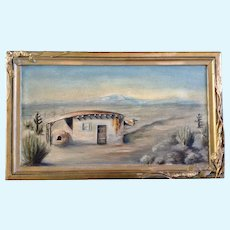Pearl Wright, New Mexico Pueblo Adobe Home Oil Painting