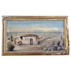 Pearl Wright, Oil Painting on Canvas New Mexico Pueblo Adobe Home Signed by Artist