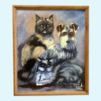 S. Zimmerman, Cats & Dog Animal Portrait Acrylic Painting