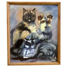 S. Zimmerman, Two Cats and a Dog Portrait Named Caroline, Lovey and Mudd Acrylic Painting on Canvas Monogrammed by Artist