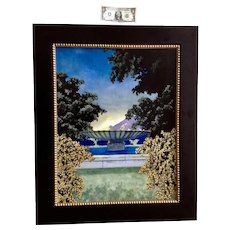 Craig Bush, Surreal Fountain Landscape Oil Painting on Board Signed by Colorado Artist