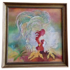 Colorful Rooster Cock Bird Portrait Oil Painting on Canvas