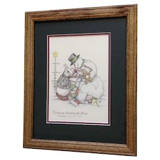 Susan (Sue) A. Rupp (1959-2008) Christmas Stocking Stuffers 2003, Anthropomorphic Bunny and Snowman Signed Limited Edition Print Signed by Colorado Artist