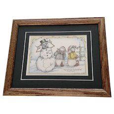 Susan (Sue) A. Rupp (1959-2008) Christmas Fruitcakes 2002, Anthropomorphic Bunnies and Snowman Signed Limited Edition Print Signed by Colorado Artist