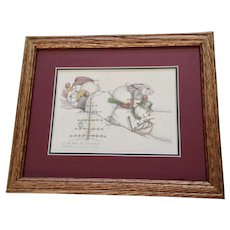 Susan (Sue) A. Rupp (1959-2008) I'll Be Home For Christmas 2001, Anthropomorphic Bunnies and Snowman Signed Limited Edition Print Signed by Colorado Artist
