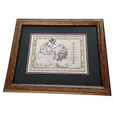 Susan (Sue) A. Rupp, Anthropomorphic Bunny and Snowman Signed Limited Edition Print