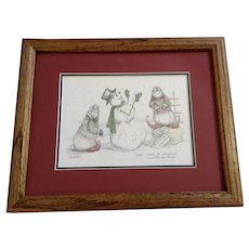 Susan (Sue) A. Rupp (1959-2008) Sweet Taste Of Christmas 1995, Anthropomorphic Bunnies and Snowman Signed Limited Edition Print Signed by Colorado Artist