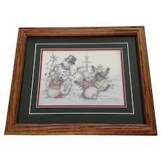 Susan (Sue) A. Rupp (1959-2008) Tangled Hares 1997, Anthropomorphic Bunny Rabbits and Snowman Signed Limited Edition Print Signed by Colorado Artist