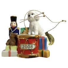 Retired Danbury Mint 2008 Bichon Christmas Ornament Christmas Drummer Dog Figurine