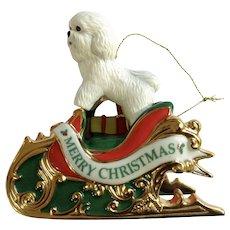 Bichon Santa's Helper Dog in Santa Sleigh With Toy Bag Christmas Tree Ornament The Danbury Mint 2006