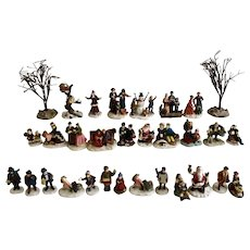 Christmas Snow Village Figural People and Tree Figurines O'Well, Mercuries USA & More 31 Piece Group