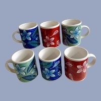 Hawaiian Plumeria Flowers Cups Fall, Spring and Winter Flower Demitasse Coffee Island Heritage