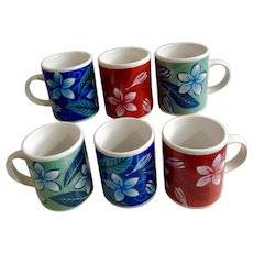 Plumeria Fall Spring and Winter Flower Demitasse Coffee Cups Island Heritage
