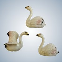 White Swan Bird Family Bone China Miniature Animal Figurines