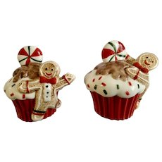 Fitz and Floyd Cupcake Gingerbread Boy Sweet Treats Salt and Pepper Shakers FF Porcelain Figurines