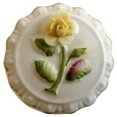 Vintage Coalport Lidded Trinket Hair Box Yellow Rose Floral Top Bone China Made in England
